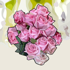 painted bouquet of pink roses on an abstract background