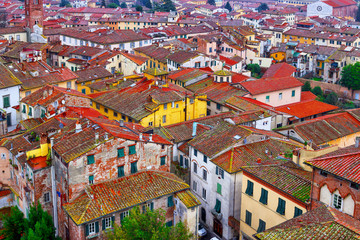 Cityscape view of old town of Lucca, province of Lucca, Tuscany, Italy.