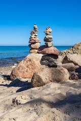 Fototapete - Steine an der Küste der Ostsee auf dem Fischland-Darß