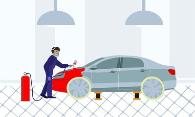 Man in protection uniform paints the car with spray gun. Car painting service.