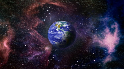 Earth in the outer space collage. Earth and galaxies in space. Science fiction art. Earth planet in galaxy use for science design fantasy