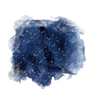 Night Sky Print. Watercolor starry sky. Blue galaxy night sky