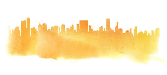 Modern cityscape yellow orange watercolor silhouette drawing.