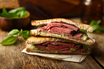 Homemade roast beef sandwich