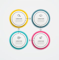 Obraz Round business infographics with icons and 4 options or steps. Vector illustration for presentations and reports, digital marketing. - fototapety do salonu