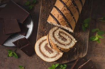 Homemade chocolate banana roll cake