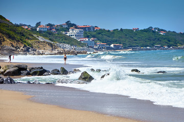 Sandy beach on Atlantic ocean coast. Bidart is a coastal small town in the Pays Basque, South west France Wall mural