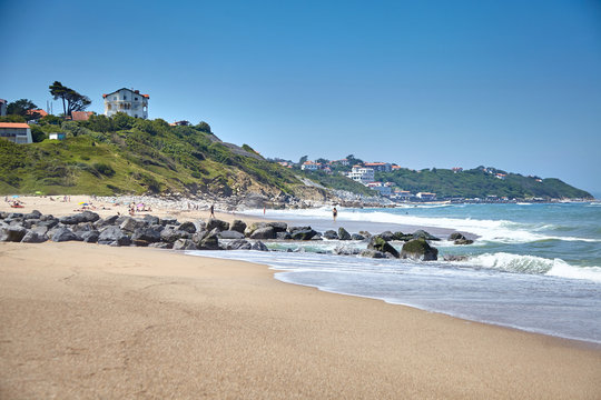 Sandy beach on Atlantic ocean coast. Bidart is a coastal small town in the Pays Basque, South west France