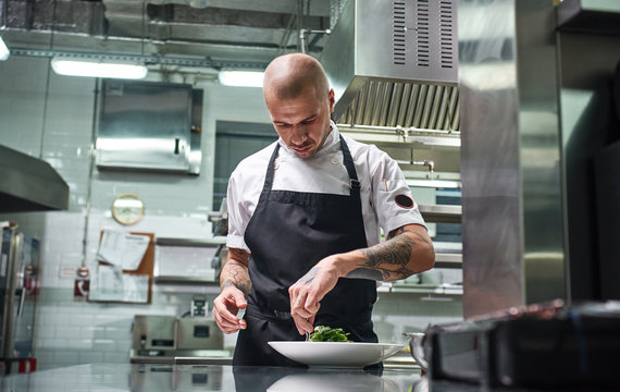 Concentrated at work. Portrait of handsome professional chef in black apron garnishing his dish on the plate while working in restaurant kitchen