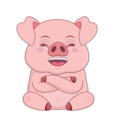 Piggy laughing, cartoon postcard sticker, design element isolated on white.