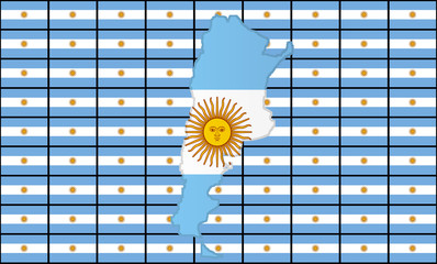 Graphic illustration of an Argentinian flag with a contour of its borders