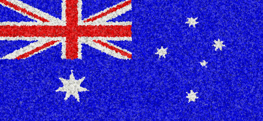 Illustration of an Australian flag with a blossom pattern