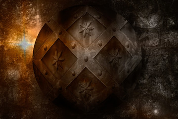 aged circle medieval shield over dark castle stone wall