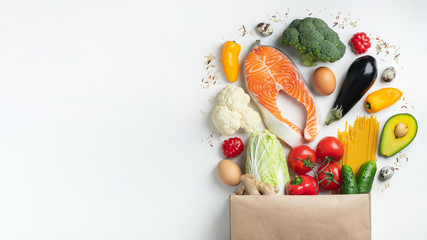 Supermarket. Paper bag full of healthy food. Wall mural