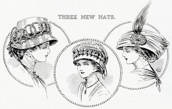 Three New Toque Hats 1909
