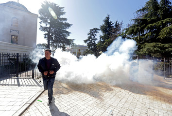 A supporter of the opposition party attends an anti-government protest in front of the Parliament in Tirana