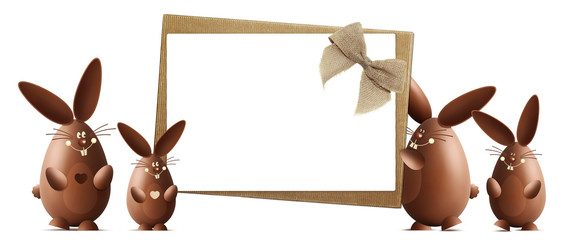 happy easter gift card, chocolate bunnies with ribbons bows isolated on white background