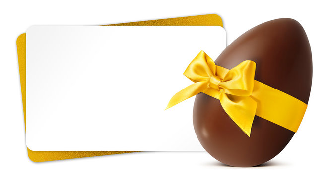 Easter gift card with chocolate easter egg with golden ribbon Bow isolated on white background