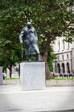 statue of Winston Churchill in Parliament Square London England