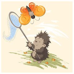 Hedgehog catches a butterfly vector graphics childrens illustration