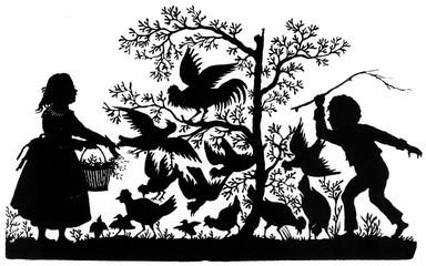 Silhouette Children and Birds