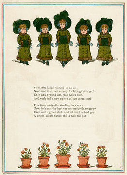 Five Little Girls in Winter Clothes