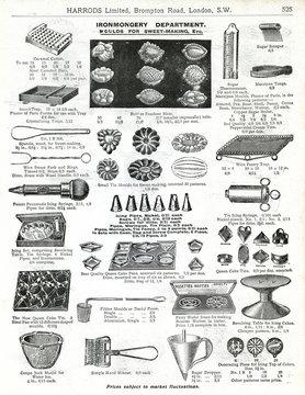 Trade Catalogue for Edwardian Sweet Making Utensils 1911