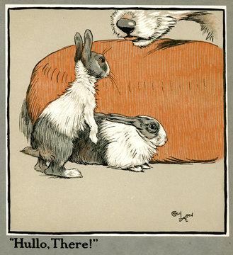 Humpty and Dumpty the Rabbits Meet a Dog