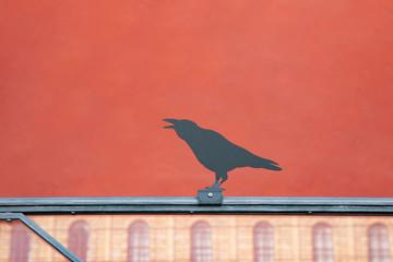 Ein schwarzer Vogel mit rotem Hintergrund