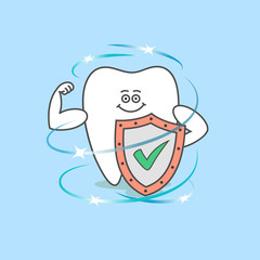 Tooth with a shield and a check mark. Healthy teeth. Dental care and hygiene icon. Cartoon tooth.