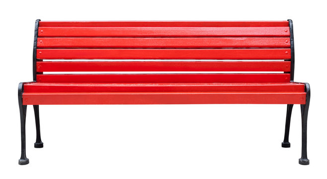 Colorful wooden bench painted in red with metal legs, isolated on a white background (design element)