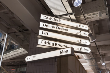 Light boxes with signage for in a store with an industrial look.