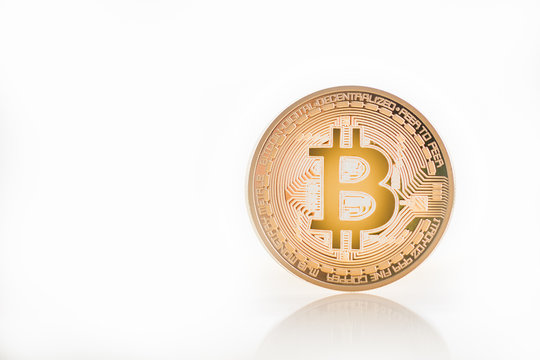 Bitcoin(BTC) Gold on white background. virtual cryptocurrency concept. BTC,XRP,BCH,ETH,XMR