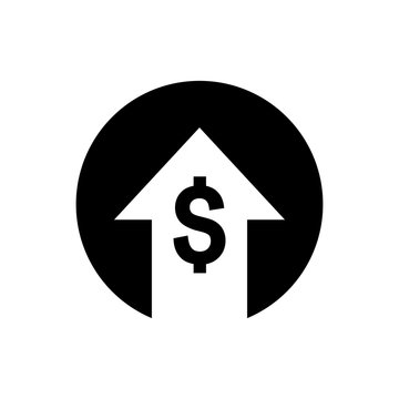 Money increases icon vector. dollar rate increase icon. Money symbol with stretching arrow up. rising prices.