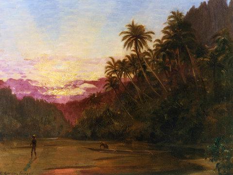 Turtle Fishing at Sunset, Charles E Gordon Frazer