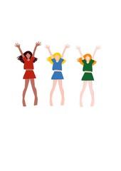 happy girls jumping