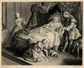 Bedroom Scene with a Couple, Two Servants and a Dog