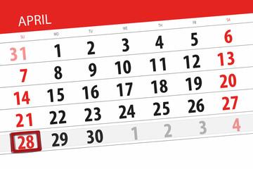 Calendar planner for the month april 2019, deadline day, 28 sunday Wall mural