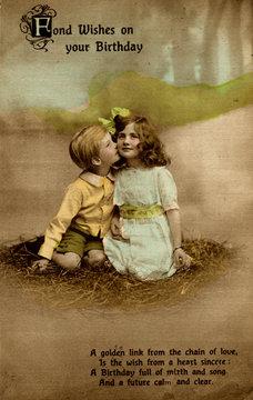 Little Girl and Boy on Birthday Postcard