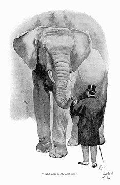 Illustration, Man Feeding a Bun to an Elephant