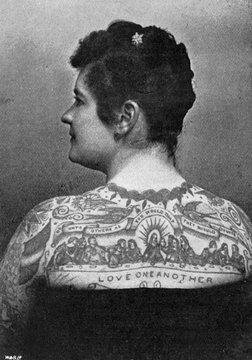 Emma De Burgh, Tattooed Lady, 1897
