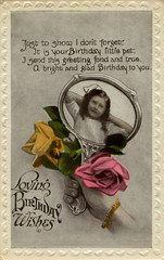 Little Girl in Hand Mirror, with Roses