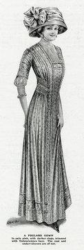Woman Wearing Foulard Gown 1909