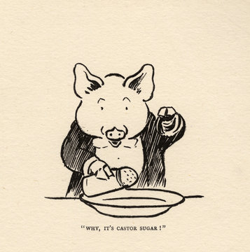 Hungry Peter the Pig Putting Sugar in the Soup