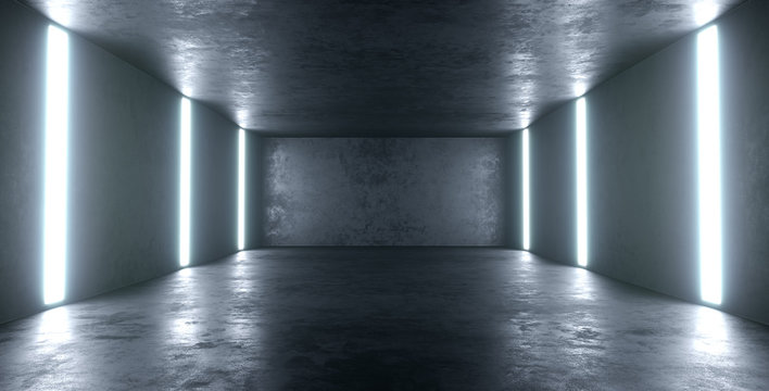 Empty high detailed concrete room with light stripes and reflections. 3D illustration.