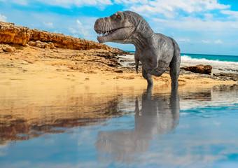 Tyrannosaurus on the water looking around