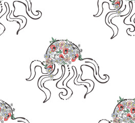 Vector seamless pattern hand drawn graphic illustration of sea animal, octopus with flowers, leaves Sketch drawing, doodle style. Artistic abstract line art Black, white silhouette wirh colorful rose