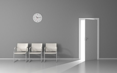 Open door with light in waiting room with white chairs and wall clock
