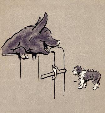 Illustration by Cecil Aldin, the Bobtail Puppy Book