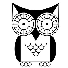 black owl geometric black line illustration